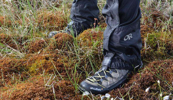 A picture of the writer wearing Salewa Alp Flow Mid GORE-TEX boots and Outdoor Research Gaiters