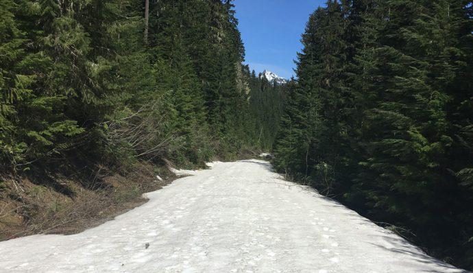 The road leading to the Rachel Lake trailhead covered in snow and sluch
