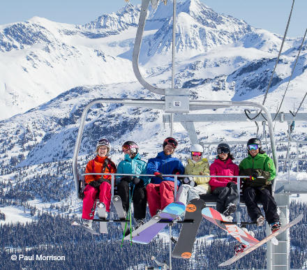 riding the lift at Whistler Blackcomb