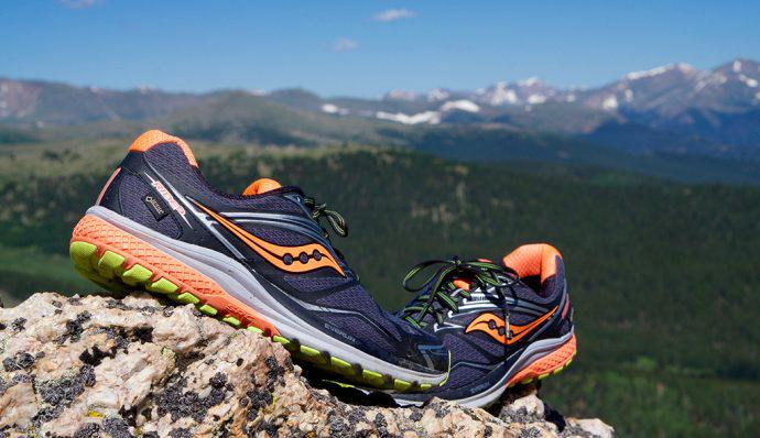 Saucony Ride 9 GTX® Shoes perched on a mountain top
