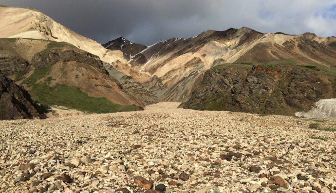 A view of the Polychrome Mountain in Denali National Park