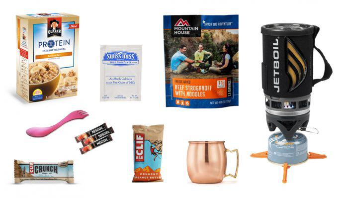 An image of the cooking gear and food like a Jetboil Cooking System, Mountain House Stroganoff, Clif Bars, and oatmeal