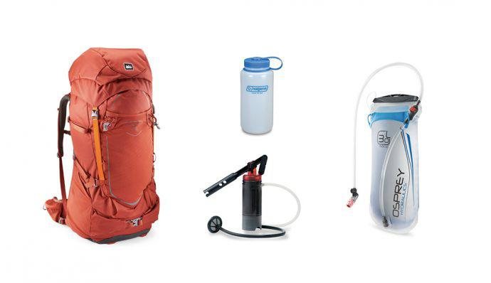 A picture of a REI Yosemite 75 Pack, Osprey 3 Liter Hydraulics Reservoir, Nalgene Ultralite Wide-Mouth Water Bottle, and a MSR SweetWater Water Purifier System