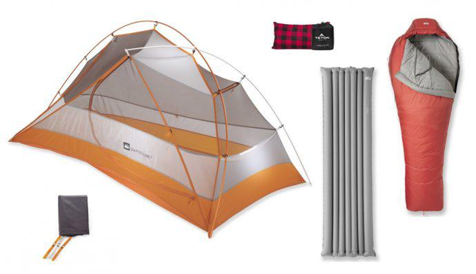 A tent, sleeping pad, sleeping bag, and footprint from REI and a camping pillow from Teton